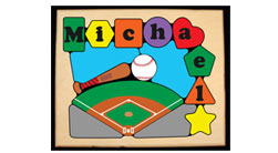 Personalized Name Sport Theme Wooden Puzzles and Stools