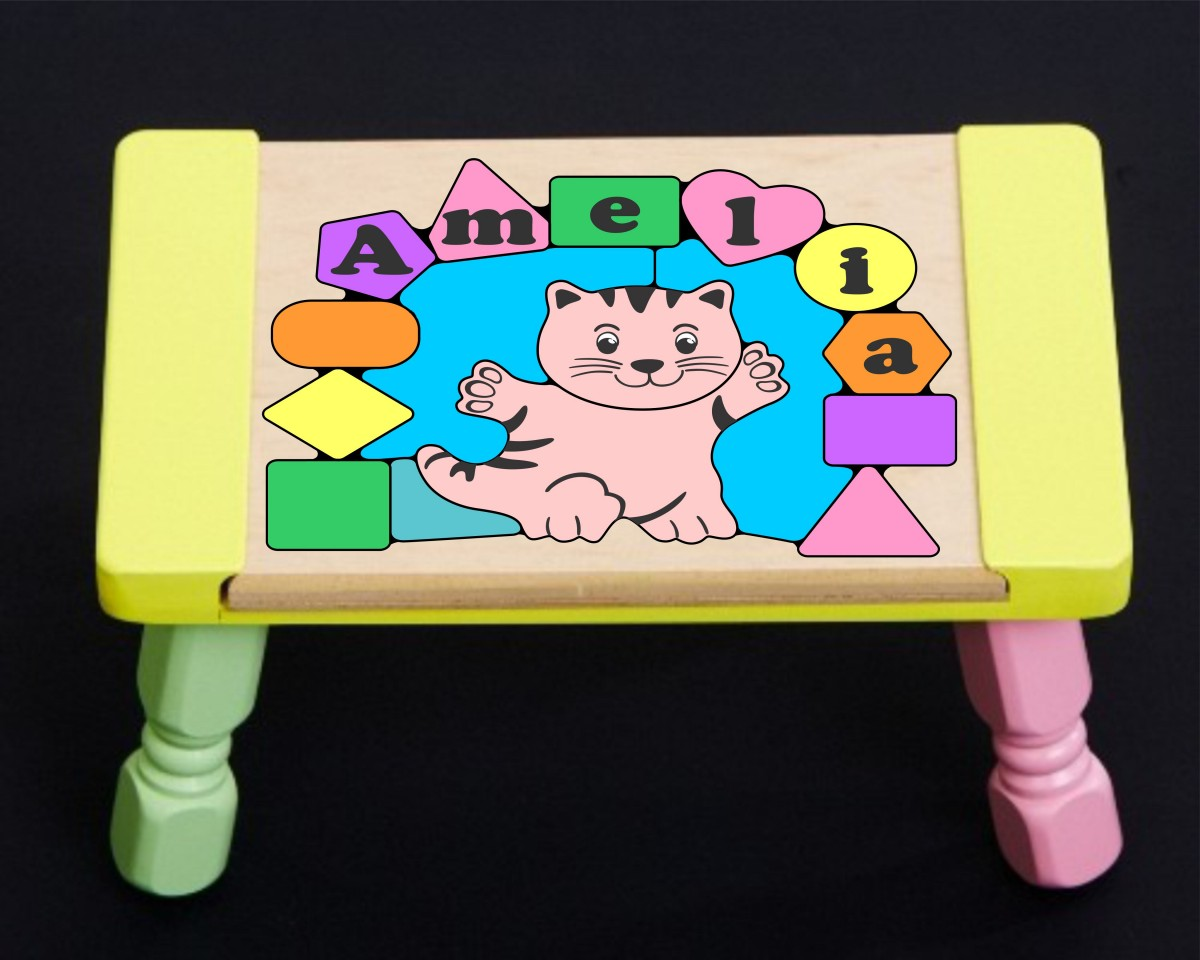 Personalized Name Cat Theme Puzzle Stool Pastel Free