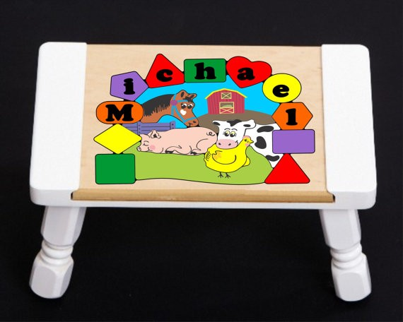 Personalized Name Farm Animals Theme Puzzle Stool