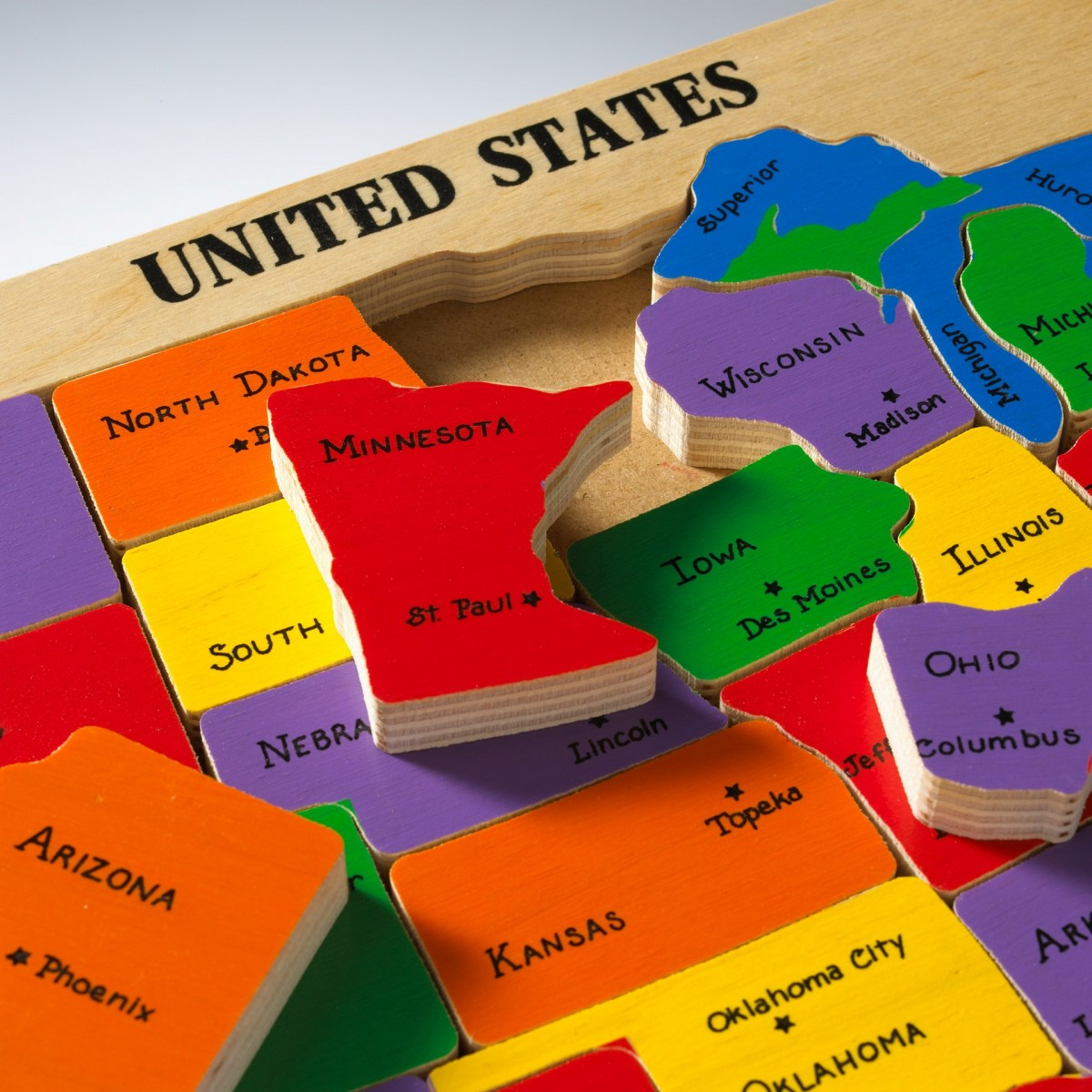 united states map puzzle u.s.states and capitals US Map Puzzle with State Capitals