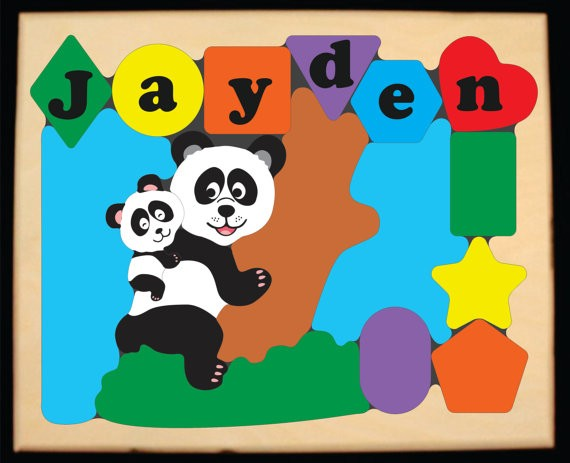 Personalized Panda Bear Puzzle