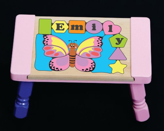 Personalized Name Butterfly Theme Puzzle Stool Pastel