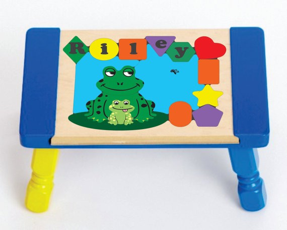 Personalized Name Frog Puzzle Stool