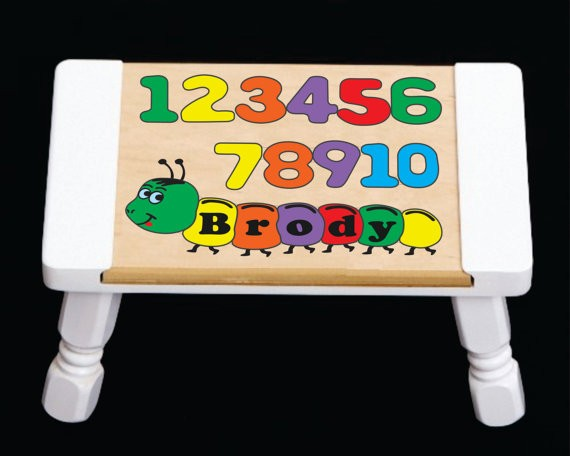 Personalized Name Number Worm Puzzle Stool Pastel