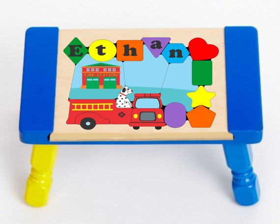 Personalized Name Fire Truck Theme Puzzle Stool Free