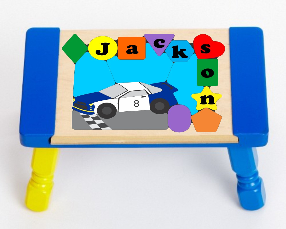 Personalized Name Nas Car Theme Puzzle Stool Free Shipping