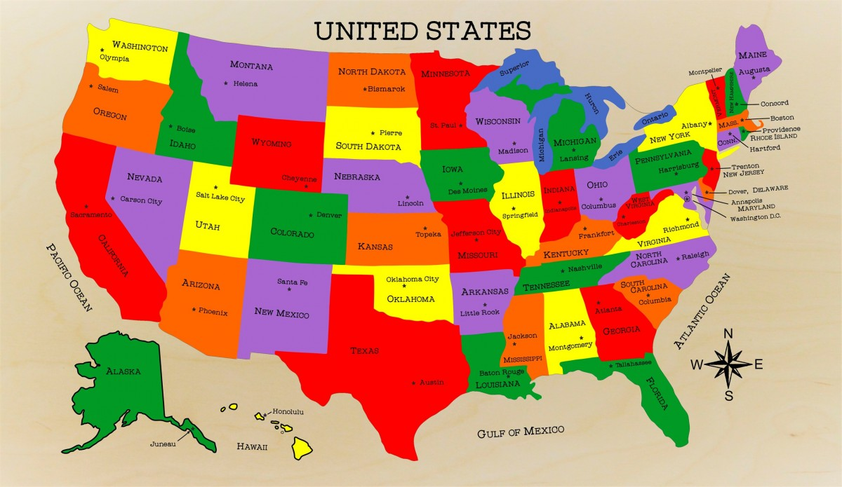 Picture of: Us Map Puzzle With State Capitals