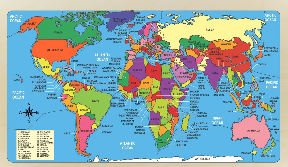 World Map Puzzle naming countries and their location.