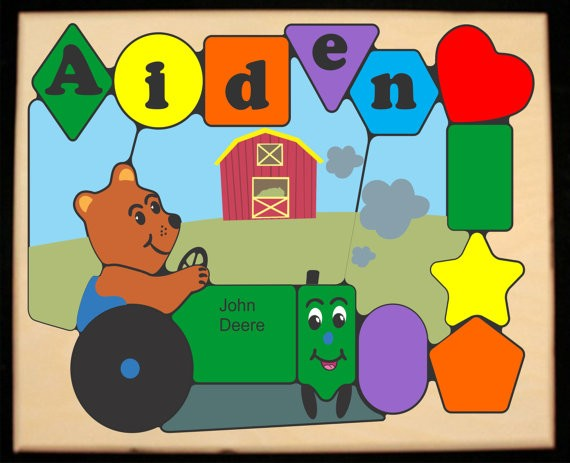 Personalized Name Tractor Bear Theme Puzzle - (FREE SHIPPING)