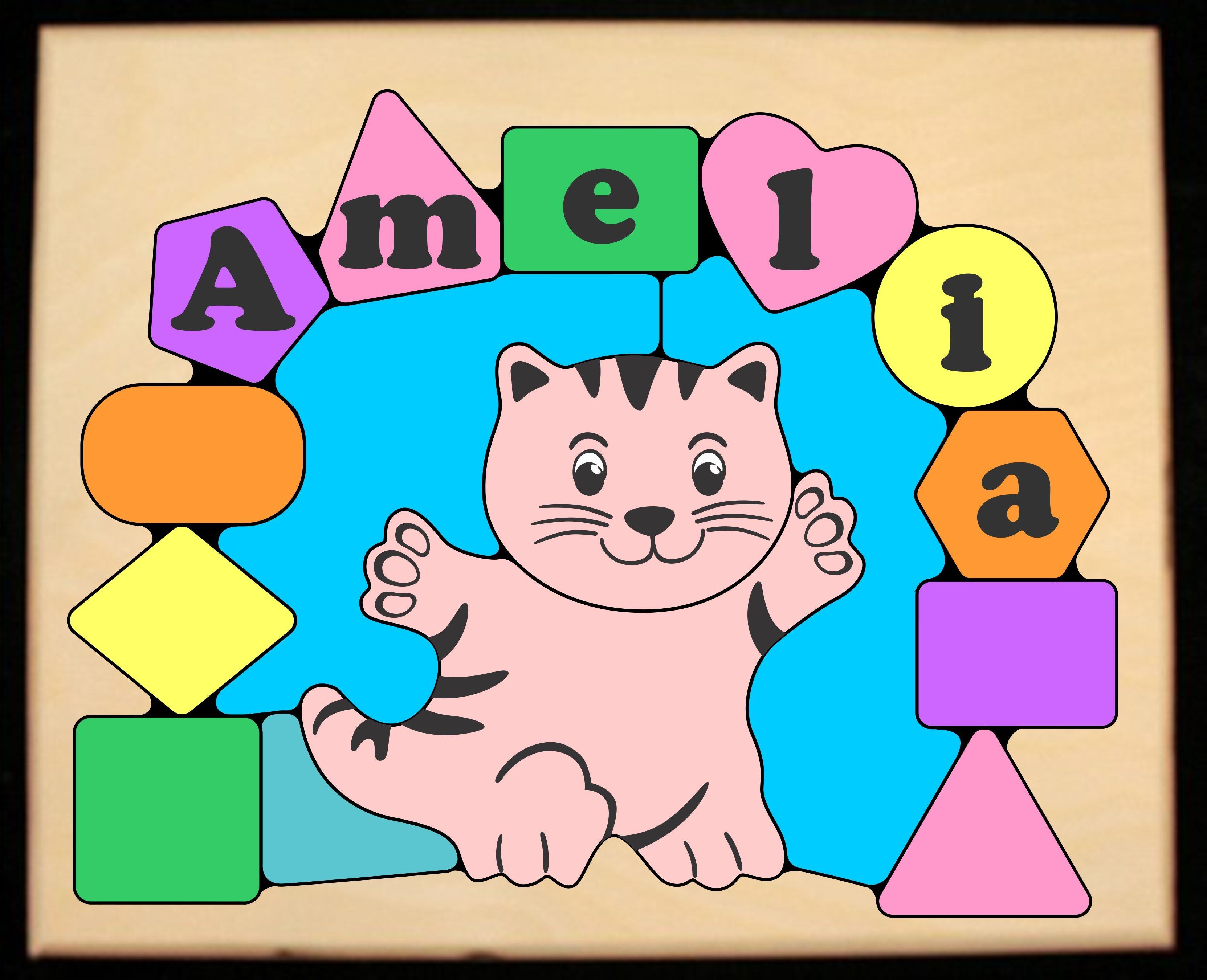Personalized Name Cat Theme Puzzle - Pastel - (FREE SHIPPING)