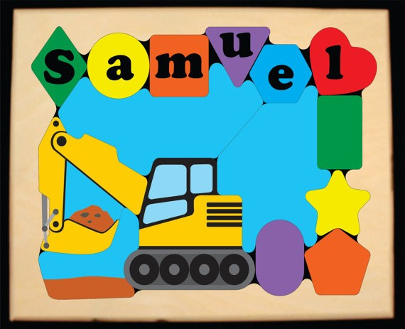 Personalized Name Construction Excavator Digger Theme Puzzle (FREE SHIPPING)