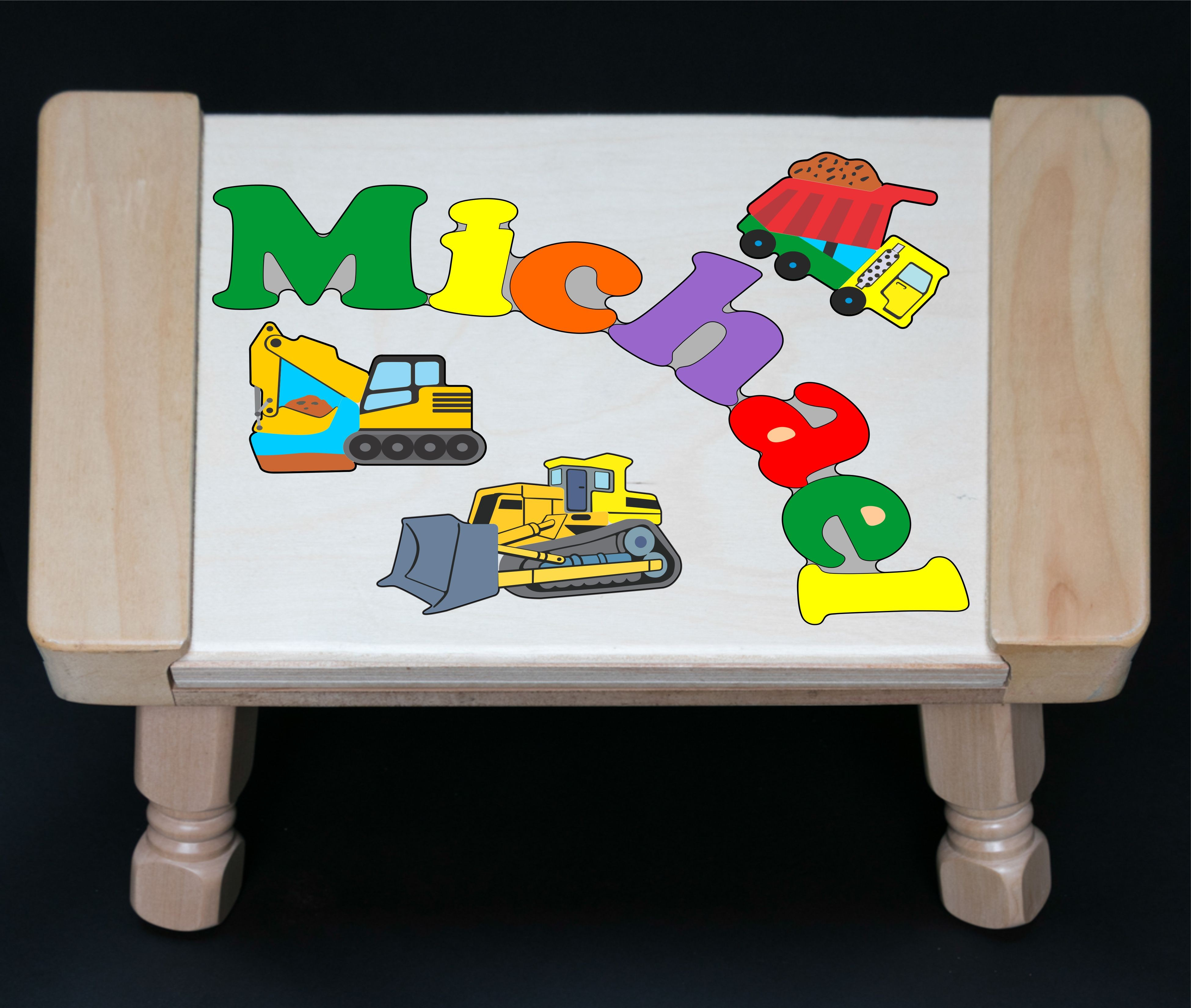 Custom Name Construction Theme Puzzle Stool in upper and lower case letters - Primary or Pastel  (FREE SHIPPING)