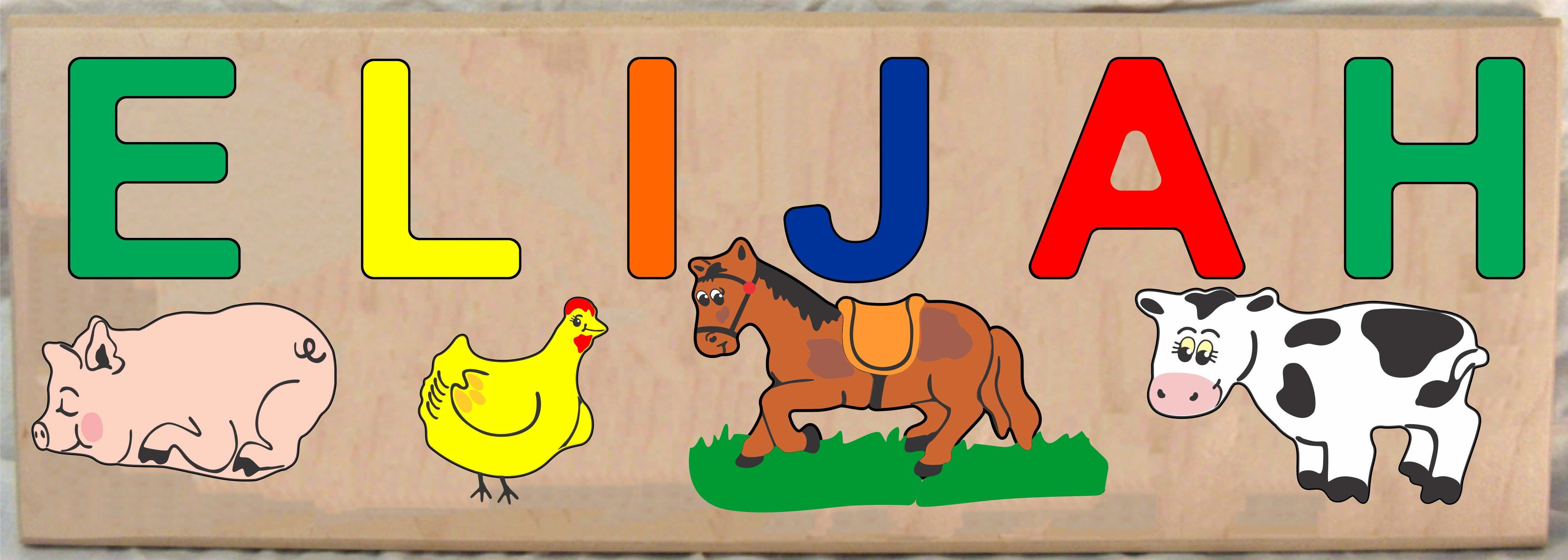 LONG CUSTOM NAME FARM ANIMALS THEME PUZZLE - PRIMARY OR PASTEL, (FREE SHIPPING)