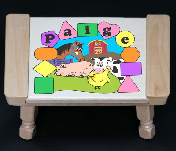 Personalized Name Farm Animals Theme Puzzle Stool - Pastel - (FREE SHIPPING)