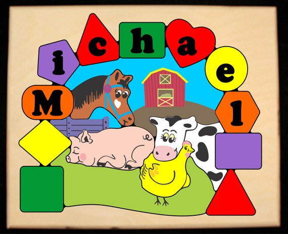 Personalized Name Farm Animals Theme Puzzle - Primary (FREE SHIPPING)