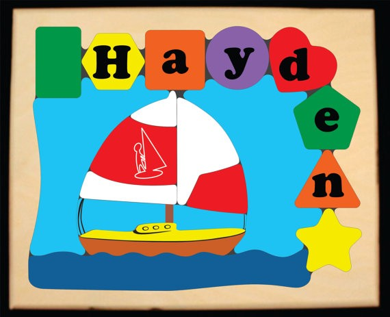 Personalized Name Sailboat Theme Puzzle - (FREE SHIPPING)