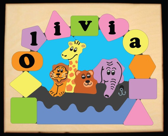 Personalized Name Noah's Ark Theme Puzzle - Pastel (FREE SHIPPING)