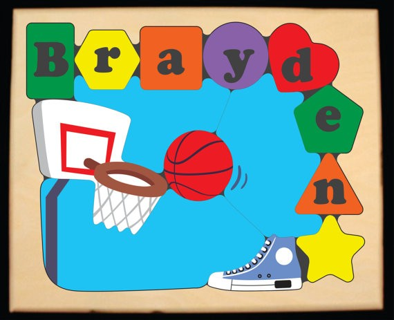 Personalized Name Basketball Theme Puzzle - (FREE SHIPPING)