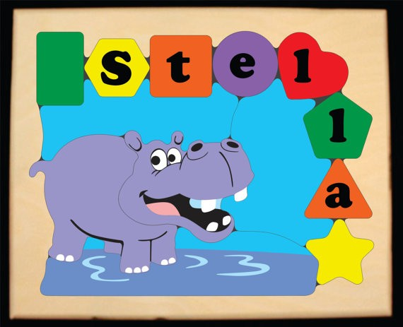 Personalized Name Hippo Theme Puzzle - (FREE SHIPPING)