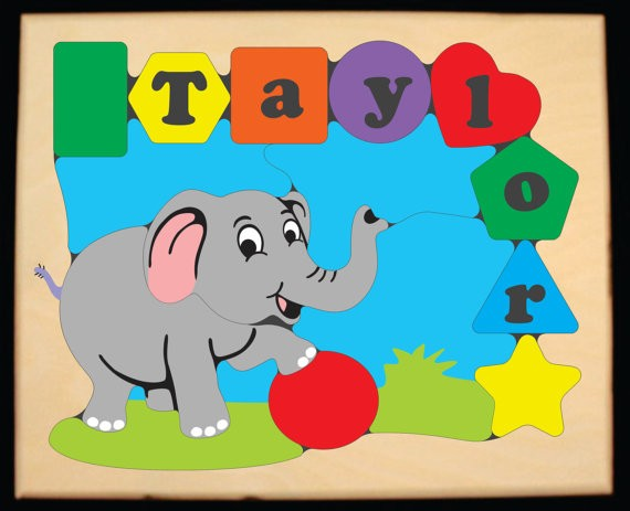 Personalized Name Elephant Theme Puzzle - (FREE SHIPPING)