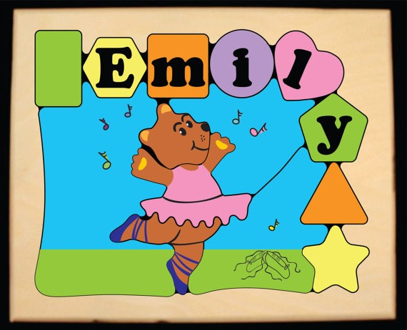 Personalized Name Ballerina Bear Theme Puzzle - Pastel - (FREE SHIPPING)