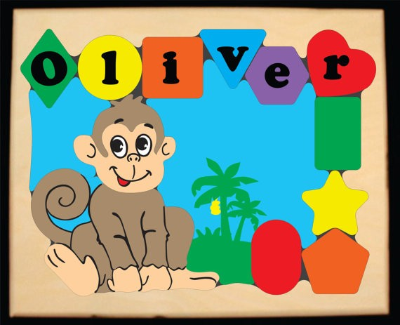 Personalized Name Monkey Theme Puzzle - (FREE SHIPPING)