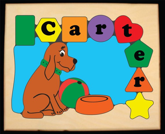 Personalized Name Dog Theme Puzzle - Primary (FREE SHIPPING)