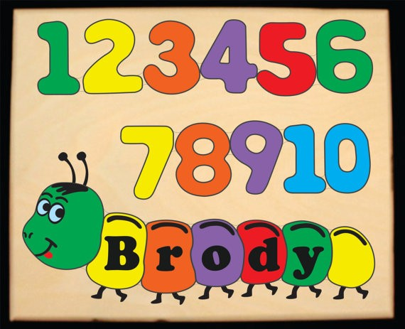Personalized Name Number Worm Theme Puzzle - Primary (FREE SHIPPING)