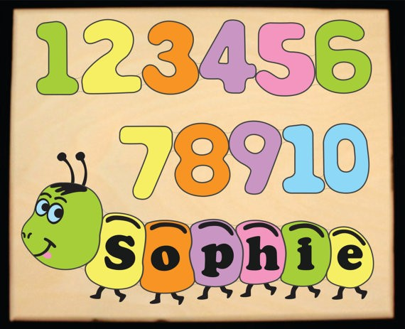 Personalized Name Number Worm Theme Puzzle - Pastel - (FREE SHIPPING)