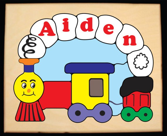 Personalized Name Small Train Theme Puzzle (FREE SHIPPING)