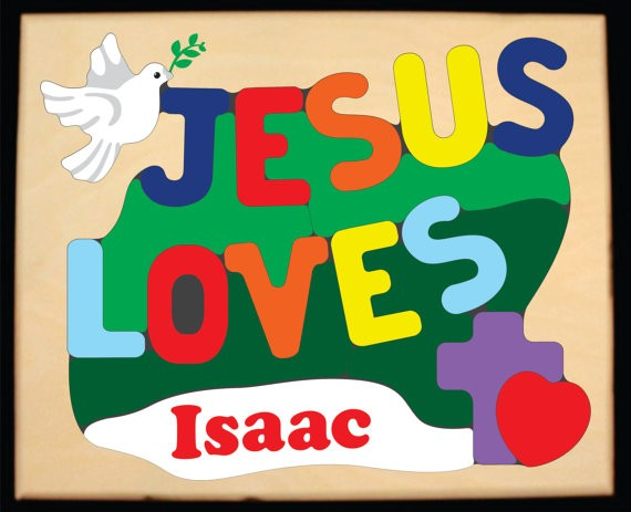Personalized Name Jesus Loves Theme Puzzle - (FREE SHIPPING)