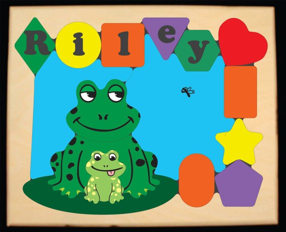 Personalized Name Frog Theme Puzzle - (FREE SHIPPING)