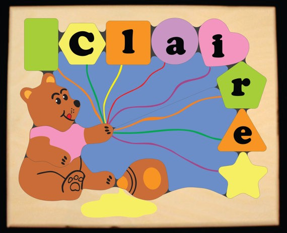 Personalized Name Honey Bear Theme Puzzle - Pastel - (FREE SHIPPING)