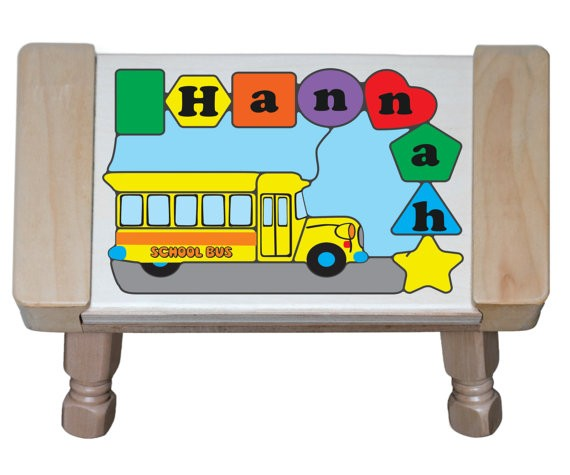 Personalized Name School Bus Theme Puzzle Stool - (FREE SHIPPING)