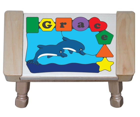 Personalized Name Dolphin Theme Puzzle Stool - (FREE SHIPPING)