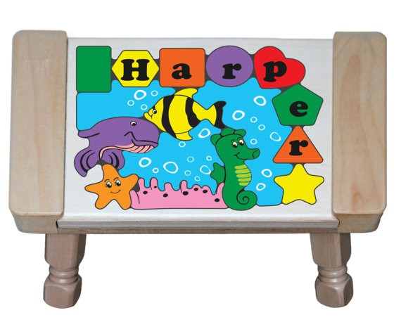 Personalized Name Under Water Fish World Theme Puzzle Stool - (FREE SHIPPING)