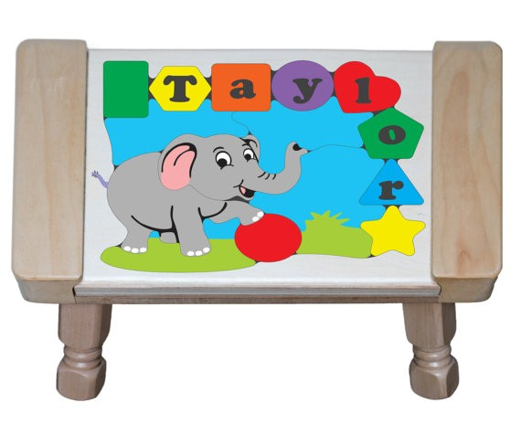 Personalized Name Elephant Theme Puzzle Stool - (FREE SHIPPING)