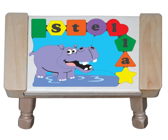 Personalized Name Hippo Theme Puzzle Stool - (FREE SHIPPING)