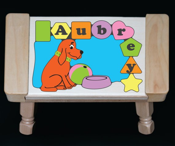 Personalized Name Dog Theme Puzzle Stool Pastel (FREE SHIPPING)