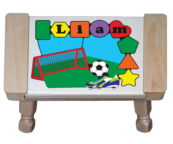 Personalized Name Soccer Theme Puzzle Stool - (FREE SHIPPING)