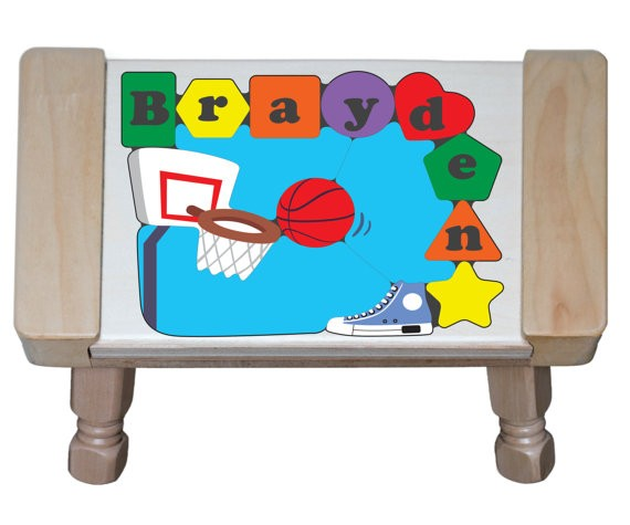 Personalized Name Basketball Theme Puzzle Stool - (FREE SHIPPING)