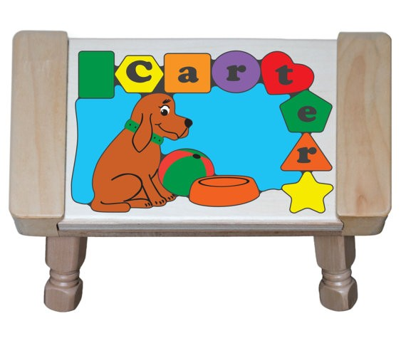 Personalized Name Dog Theme Puzzle Stool - Primary (FREE SHIPPING)