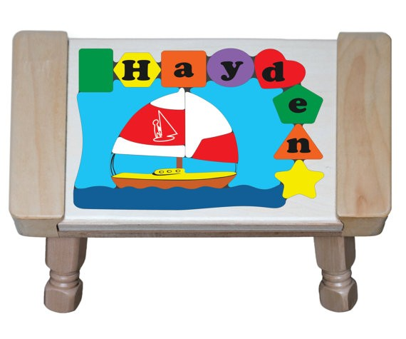 Personalized Name Sailboat Theme Puzzle Stool - (FREE SHIPPING)