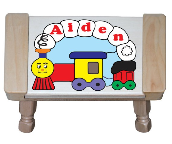 Personalized Name Small Train Theme Puzzle Stool - (FREE SHIPPING)