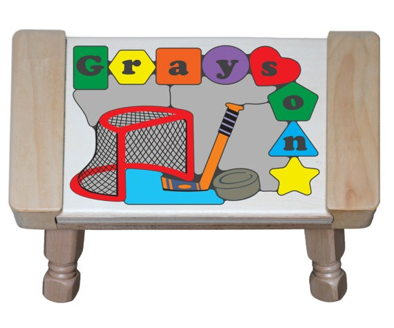 Personalized Name Ice Hockey Theme Puzzle Stool - (FREE SHIPPING)