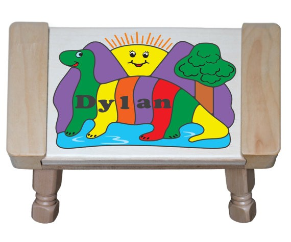 Personalized Name Dino Sun Theme Puzzle Stool - (FREE SHIPPING)