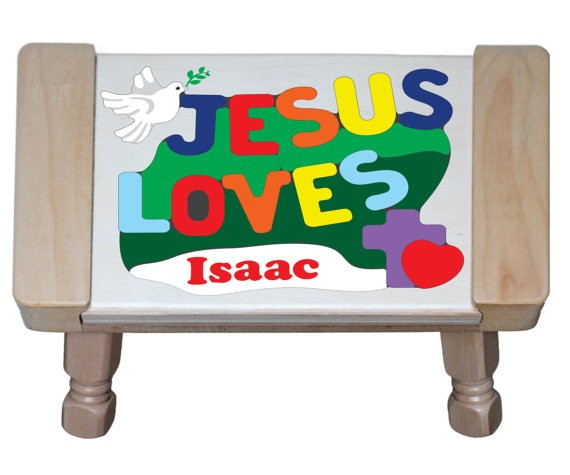 Personalized Name Jesus Loves Theme Puzzle Stool - (FREE SHIPPING)