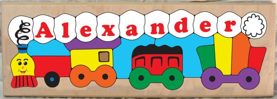 Personalized Name Long Train Theme Puzzle - (FREE SHIPPING)