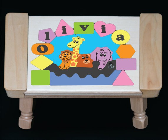 Personalized Name Noah's Ark Theme Puzzle Stool- Pastel - (FREE SHIPPING)