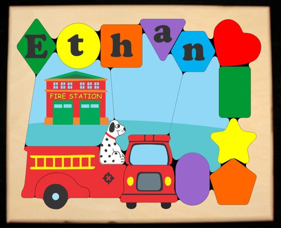 Personalized Name Fire Truck Theme Puzzle - (FREE SHIPPING)